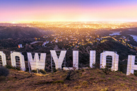 LOS ANGELES , USA – JUNE 14, 2018 – Back of the Hollywood sign at sunset